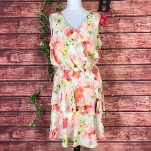 Kenneth Cole Dress size 14 Pink Coral Sheer Floral